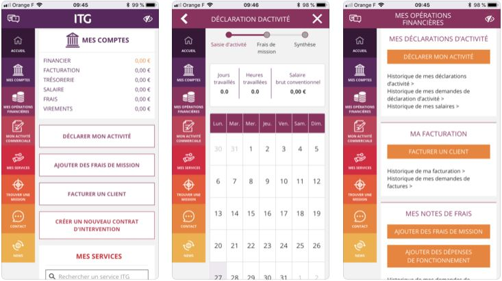 Screenshot Application mobile Portage salarial