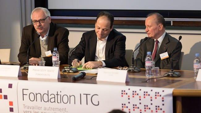 Patrick Levy-Waitz, président de la Fondation ITG, avec Raymond Soubie et Jacky Bontems
