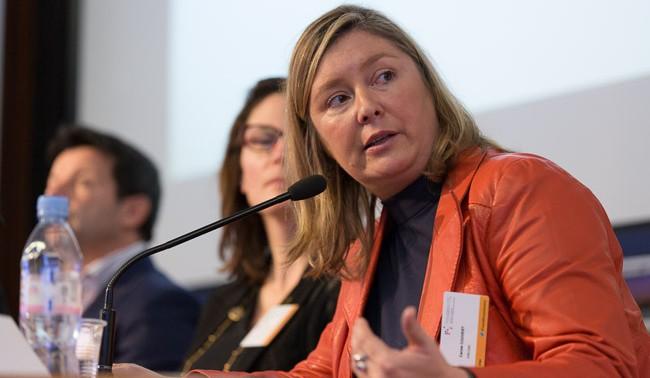Carole Couvert, présidente de la CFE-CGC lors du colloque de Fondation ITG